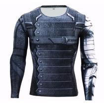 Camisa Compressão Soldado Invernal Bucky Marvel Manga Longa