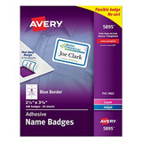 Avery Adhesive Gafetes, 2,33 X 3,38 Pulgadas, Blanco Con Az
