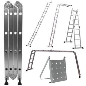 Escada Articulada Multifuncional Em Alumínio 4x4 Degraus