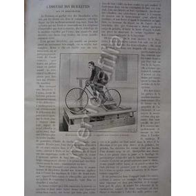 Grabado Antiguo 1895 Bicicleta Estacionaria