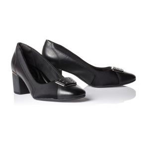 Sapato Feminino Preto Couro Comfortflex 1867306