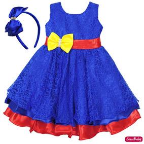 Vestido Festa Infantil Luna Chique Com Tiara Cetim Promoção