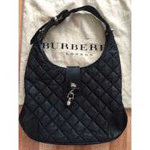Burberry Bolsa Hobo Quilted Negro Lona Piel Original Check