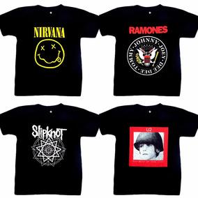 Camiseta Banda Rock Nirvana - Ramones - Slipknot - U2