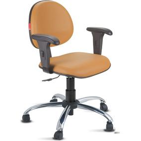 Cadeira Escritório Laranja Claro Cromada Com Braços