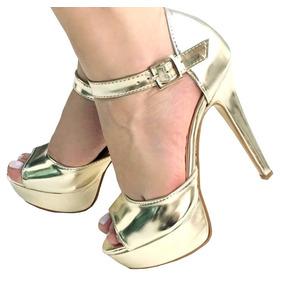 Sandália Dourada Metalizada Salto Alto Fino Meia Pata 2147