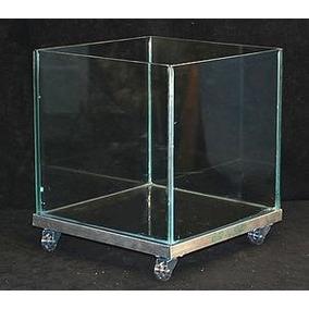 Cachepot De Vidro 30x30x30 Base Em Alumínio Rodinhas Retira