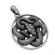 Pingente Cobra Serpente, Granada Natural, Prata 925 31904068