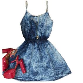 Vestido Jeans De Alcinha Azul Mesclado