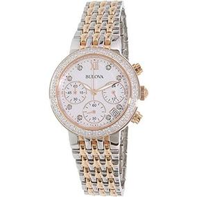 Bulova Dos Tonos De Oro Rosa Reloj De Diamante