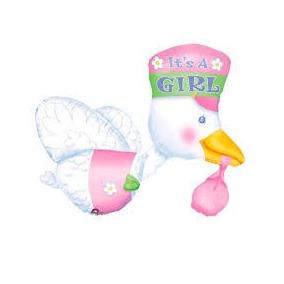 Baby Shower Globo Metálico Cigüeña Jumbo Niña