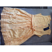 Vestido Tommy Hilfiger 14 Anos, Em Linho Amarelo 12x S/juros