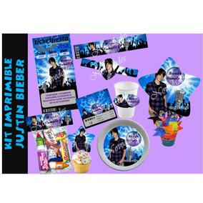 Kit Imprimible Justin Bieber Tarjetas Cumpleanos Invitacion