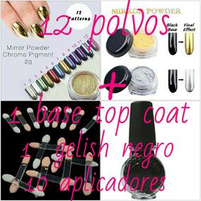 Kit Polvo Para Uñas Metalico Espejo 12pza + Gelish +aplicad