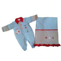 Kit Saida Maternidade Menino Azul Roupa Bebe Inverno Barato
