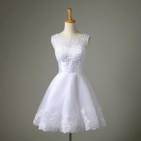 Vestido Noiva Curto Civil Debutante Praia Festa Renda Lindo