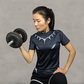 Camisa Camiseta Pantera Negra 3d Top Feminina Compressão