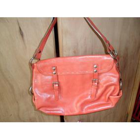 Cartera Cuero Color Naranja/coral Tamaño Pequeño