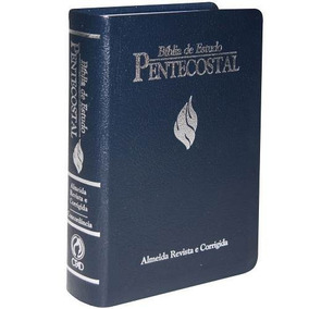 Bíblia De Estudo Pentecostal Luxo Grande Azul 17 X 23,5