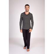 Pijama Listrado Longo Masculino Viscolycra - Ref. 8160