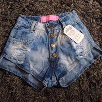Shorts Jeans Feminino Cintura Alta Customizado Sujo Detalhes