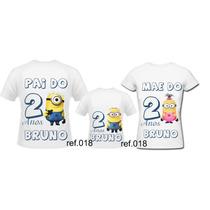 Kit 3 Camisetas Personalizadas Aniversário Minions Infantil