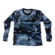 Remera Camiseta Termica Con Pechera Urbano Azul Camo Spb