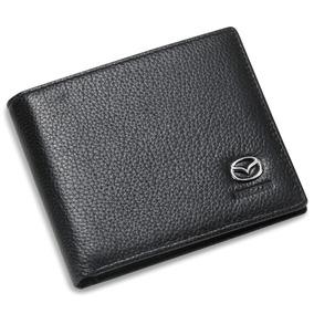 Mazda Bifold Wallet Negro Cuero Genuino Con Tarjeta De
