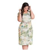Vestido Plus Size Moda Evangélica Florido Midi Madrinha