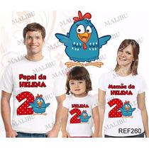 Camiseta Galinha Pintadinha Aniversário Personalizada Com 3
