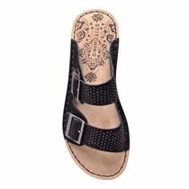 Sandalia De Cuero Stitching Con Doble Hebilla