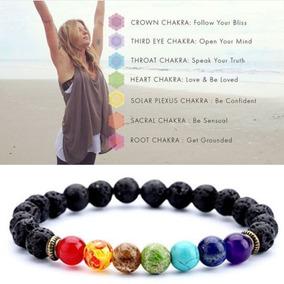 Pulsera 7 Chakras Yoga Piedra Volvanica Reiki Meditacion