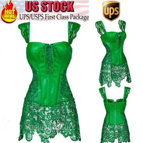 Green Lace Dress - 3xl - Mujeres Sexy Overbust Mini Fal-2264