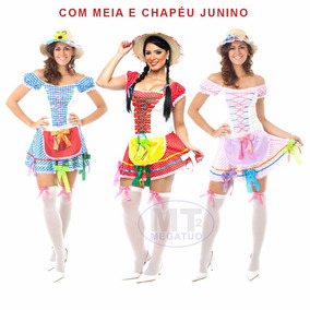 Vestido Festa Junina Caipira Adulto Junino + Meia + Chapéu