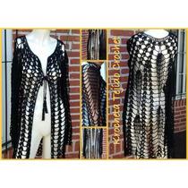 Saco Kimono Crochet Hilo Algodon Con Seda Krocheta