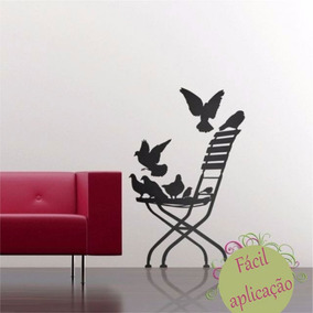 Adesivo Cadeira Com Pássaros Preto Fosco
