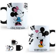 Taza Mágica Pareja Mickey Minnie + Gorras