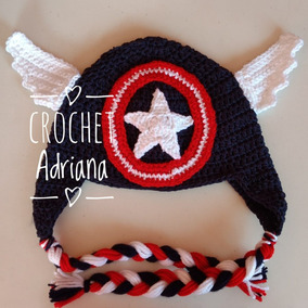Gorro Capitán América Crochet Bebés