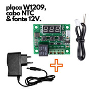 Kit W1209 Termostato Digital Fonte 12v Cabo Ntc Chocadeira