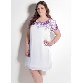 Vestido Evasê Branco E Floral Plus Size Moda Evangélica