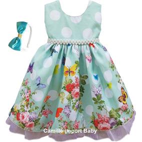 Vestido Infantil Festa Floral Daminha Florista Tiara