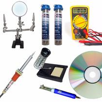 Kit Ferramentas Eletrônica Multímetro E Ferro Hikari Lupa
