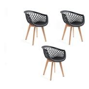 3 Cadeira Web Cloe Clarice Sidera Base Wood - Branco E Preto