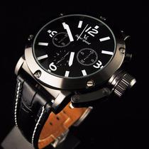 Relógio Top Masculino Grande V6 Branco Preto - Cód. 053