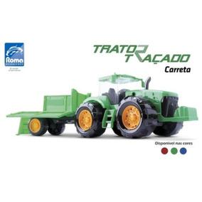 Brinquedo Trator Traçado C/ Arado + Onibus Branco
