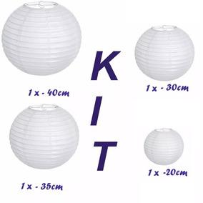 Lanterna Japonesa Casamento Branca Variadas C/4 Unidades H8