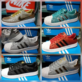 Zapatos adidas Super Star Y Nike Brillantes Escarchados