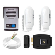 Kit Interfone Com 2 Fones + Fechadura Elétrica + 40 Mts Cabo
