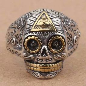 Anel Em Prata 925 E Ouro 14k Caveira Mexicana Ajustavel