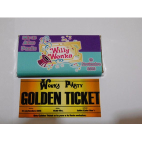 12 Recuerdo Invitación Chocolates Willy Wonka Gigante $14c/u